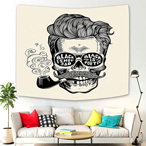 - Creative Design Tapestry Wall Hanging Indie Hipster Gentleman Skull with Mustache Pipe and Eyeglasses with Inscription Vintage Black Cream Tapestries Wall Art Decoration for Living Room Bedroom