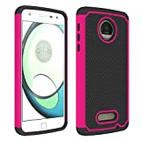 Moto Z Play Case,Berry Accessory [Drop Protection] Protective Case [Shock Proof] [Dual Lawyer] Hybrid Defender Armor Case Cover for Moto Z Play Droid with Free Berry Logo Stand Holder (Hot Pink)