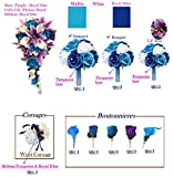 17pcs set of Artificial Keepsake flowers Turquoise(Malibu) Royal blue White Lavender and Purple theme Bouquet Corsage Boutonniere