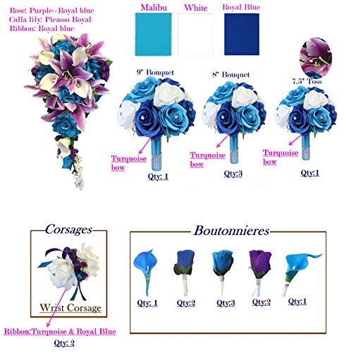 17pcs set of Artificial Keepsake flowers Turquoise(Malibu) Royal blue White Lavender and Purple theme Bouquet Corsage Boutonniere by Angel Isabella