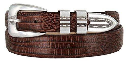 Pele Belt Women Genuine Italian Calfskin Smooth Embossed Textured Buckle,Lizard Brown 38 ()