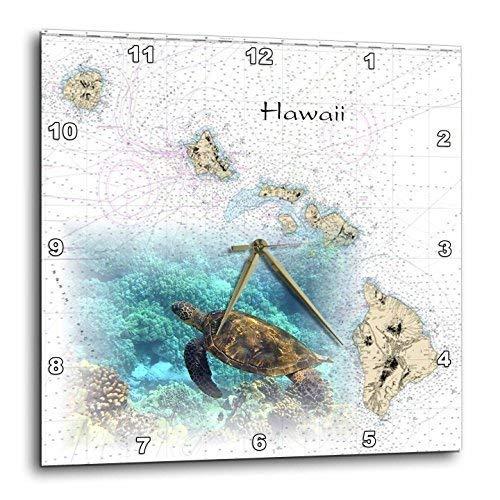 3dRose DPP_204889_3 Print of Hawaiian Islands Chart with Sea Turtle Wall Clock, 15 by 15