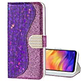 EnjoyCase Bling Case for Galaxy S9 Plus,Shiny Glitter Laser Pu Leather Diamond Magnetic Clasp Bookstyle Soft Tpu Inner Flip Wallet Case Cover for Samsung Galaxy S9 Plus