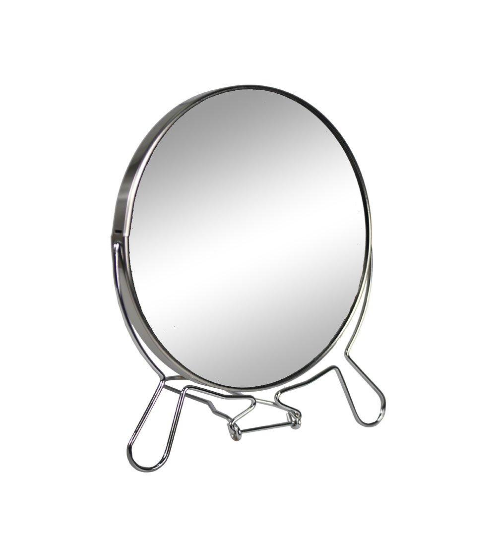 Vetrineinrete® Specchio cosmetico da Trucco con Zoom Regolabile Specchio di ingrandimento Portatile per Barba rasatura Girevole da Tavolo ø 14 cm in Acciaio Cromato C7 Vetrine in rete®