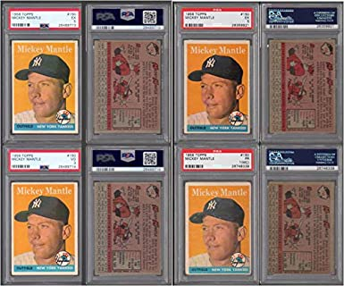 Amazoncom 1958 Topps Regular Baseball Card150 Psa Mickey Mantle
