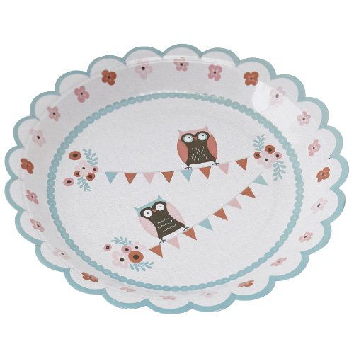 Ginger Ray Patchwork Owl Paper Party Plates, Mixed]()