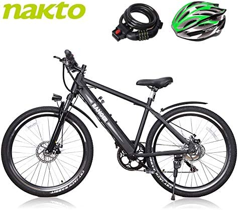 BRIGHT GG NAKTO 26 20 inch City Snow Mountain Beach Electric Bike for Adults with 6 Speed Gear and 36V 48V 10Ah Lithium-Ion Battery