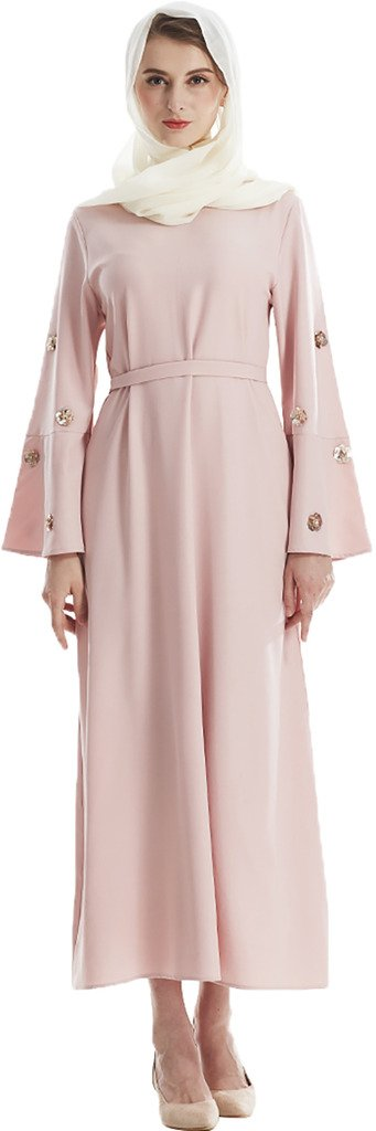YI HENG MEI Women's Elegant Modest Muslim Islamic Clothing Full Length Flower Sequins Runway Abaya with Belt,Pink,Tag M = US Size 2-6