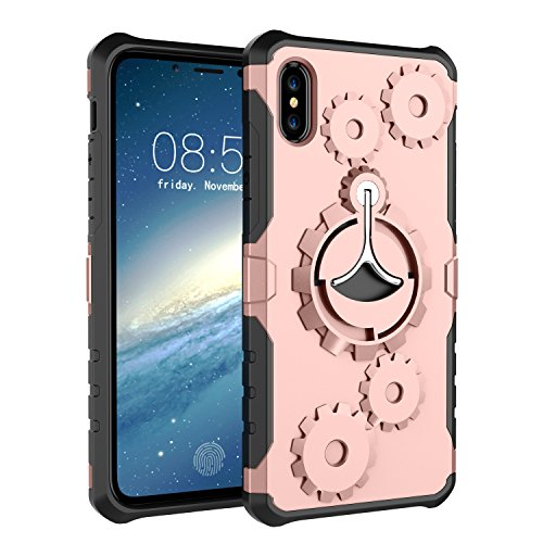 (Enlody Case for Apple iPhone X with Armband, iPhone10 Case with 360 Degree Rotate Kickstand, Hard PC Back Plate and Soft TPU Gel Bumper for Shock Absorption (Rose Gold))