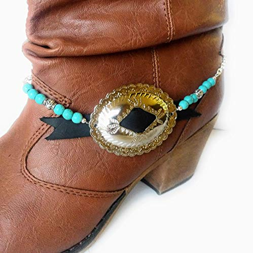 Turquoise Concho Buckle Boot Bracelet Chain Adj ()