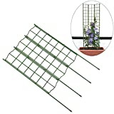 Exttlliy 3Pcs Plastic Detachable DIY Garden Trellis Adjustable Flower Support Plant Climbing Staking System Dark Green