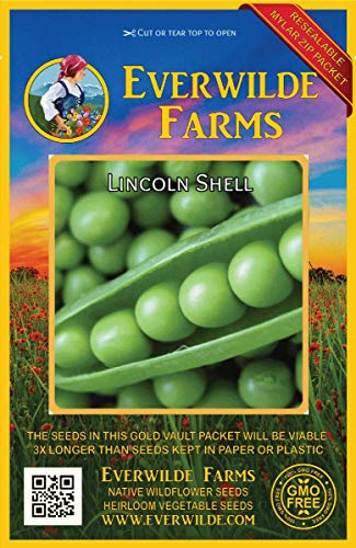 Everwilde Farms - 150 Lincoln Shell Pea Seeds - Gold Vault Jumbo Seed - Pea Shell