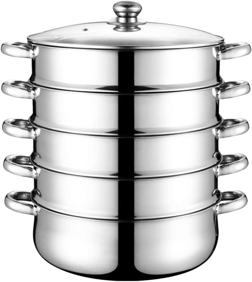 Hemoton 5 Tier 28cm Stainless Steel Steamer Multifunctional Multi Layer Boiler Pot with Handles on Both Sides Cookware Pot with Lid Grill Stove Top Steamer