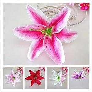 "Artificial Silk Flower Head Lilies 5.5"" Tiger Lily Flower Head Wedding Home Party Garden Decoration,or Bridal Bouquet Wreath Headwear Clip DIY Accessories 64"