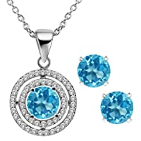 """3.64 Ct Round Natural Blue Topaz 925 Sterling Silver Pendant Earrings Set 18"""""""