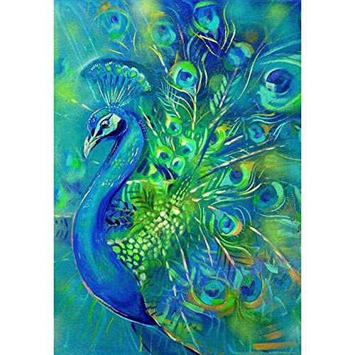 (Cinhent Diamond Painting, 5D Embroidery Rhinestone Pasted DIY Cross Stitch - 30 × 40CM, Home/Bedroom / Office/Study, Creative Coverage:Full Diamond Emerald Blue Peacock Open)