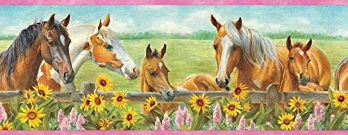 Chesapeake BBC92073B Harmony Horses Sunflowers Portrait Wallpaper Border, Green ()