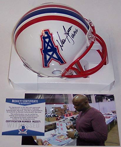 Warren Moon Autographed Hand Signed Houston Oilers Mini Helmet - BAS Beckett Authentication