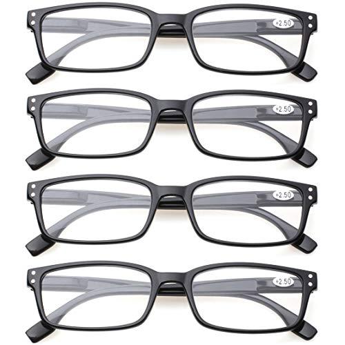 8f685eec454 READING GLASSES 4 Pack Spring Hinge Comfort Readers Plastic Includes Sun  Readers (4 Pack Black