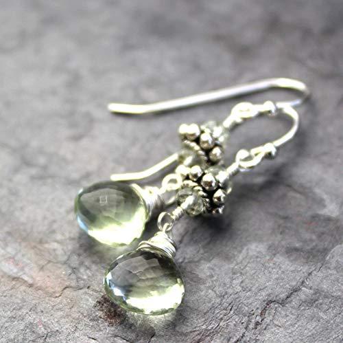 Green Amethyst Earrings Sterling Silver Prasiolite Dangle Mint Green Briolettes Bali ()