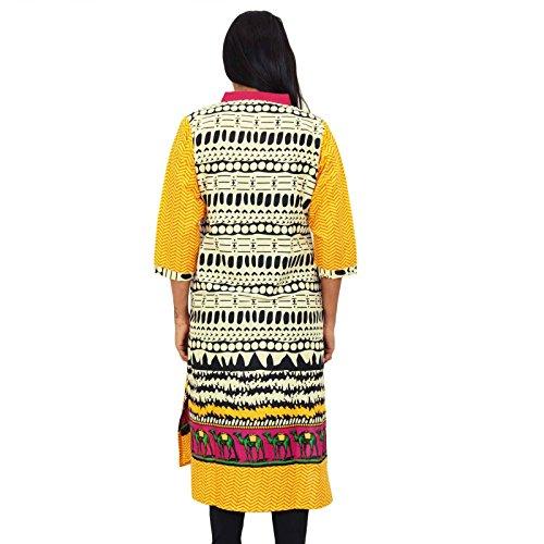 Impresión geométrica largo Kurti vestido lleno mujeres de la manga del verano maxi vestido de la túnica del desgaste Blanco