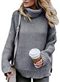ZKESS Women Casual High Neck Long Sleeve Chunky Cable Knit Loose Fit Sweater Pullover Top Grey L