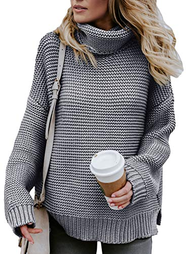 Asvivid Chunky Turtle Cowl Neck Pullover Sweater for Womens Cozy Lightweight Cable Knit Warm Winter Sweater M Grey