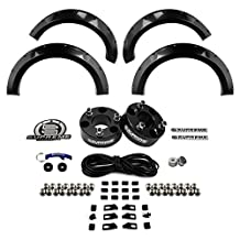 "Supreme Suspensions - Ford F150 (Except Raptor) 2.5"" Front Leveling Lift Kit CNC Machined (Black) Billet Suspension Spacers + 4 Piece Front and Rear Gloss Fender Flares Paintable 2WD 4WD 4x2 4x4"