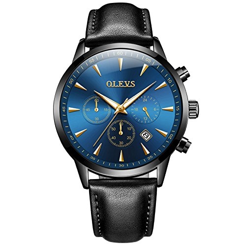 OLEVS Men Stainless Steel Watch,Fashion Luxury Classic Quartz Analog Watches with Date,Black/Blue/Green Face Watch for Men,Two Tone Steel Band Wrist Watch 2020