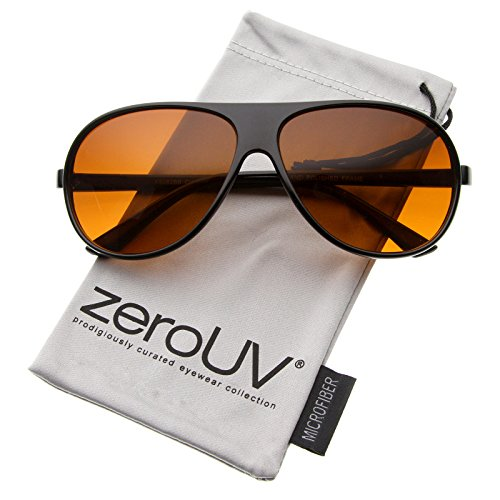 zeroUV - Men's Classic Casual Retro Teardrop Blue Block Lens Aviator Sunglasses 64mm (Black / - Aviator Sunglasses Orange Lens