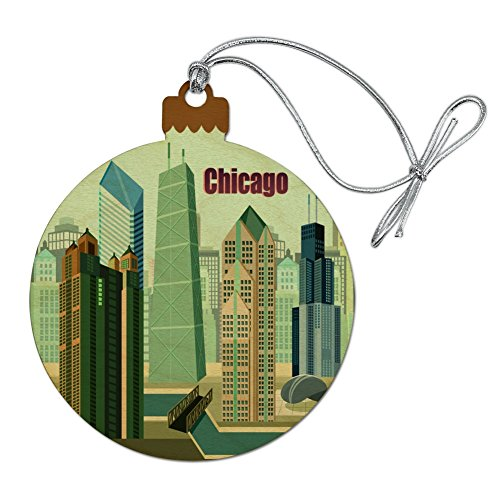 (GRAPHICS & MORE Chicago Hancock Building Willis Tower Cloud Gate Bean Wood Christmas Tree Holiday Ornament)