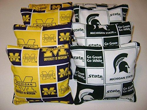 Michigan Wolverines Michigan State Spartans Cornhole Bean Bags 8 Tailgate Toss
