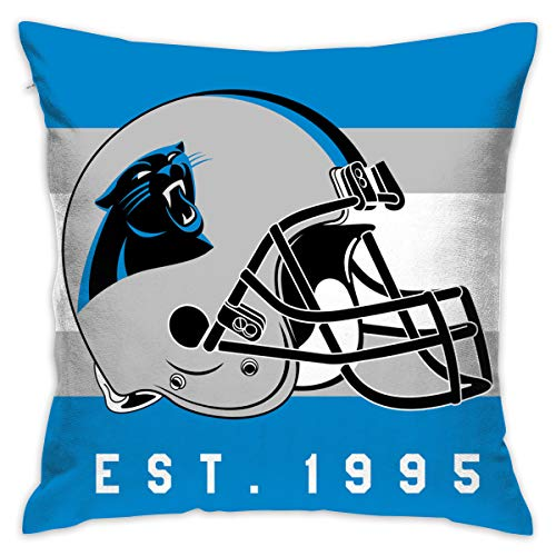 Gdcover Custom Stripe Carolina Panthers Pillow Covers Standard Size Throw Pillow Cases Decorative Cotton Pillowcase Protecter with Zipper - 18x18 Inches