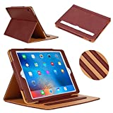 iPad Pro 9.7 Case, ADOKEY Auto Sleep Awake Smart Leather Stand Folio Flip Case Cove for Apple iPad Pro 9.7 Inch Case 2016, with Multiple Viewing Angles, Document Card Pocket (Brown)