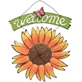front yard garden ideas YK Decor Metal Sunflower Welcome Sign Front Door Decor Hanging Welcome Sign Sunflower Garden Decor Indoor Outdoor Signs and Decor