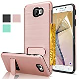 Galaxy J7 Prime Case With HD Screen Protector,(Not Fit Metro PCS) AnoKe[Card Slots Holder][Not Wallet] Kickstand Plastic TPU Hybrid Shockproof Case For Samsung Galaxy J7 Prime KC1 Rose Gold