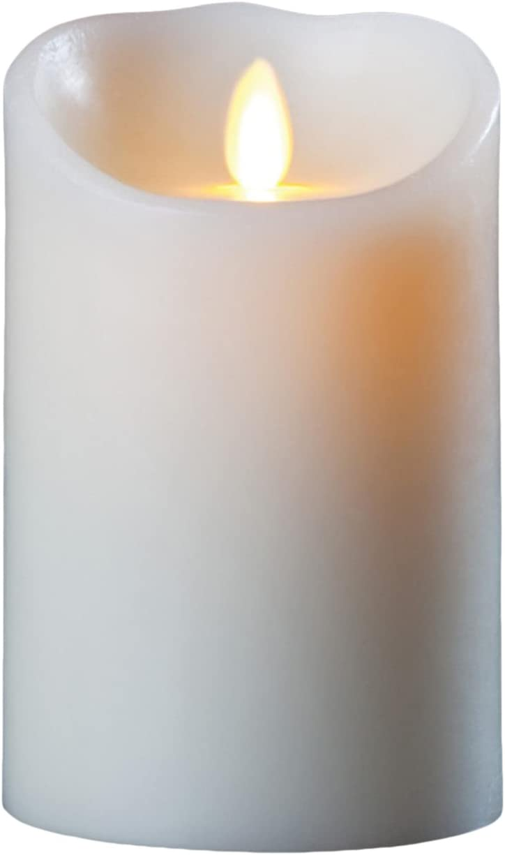 Darice LM357B Luminara Realistic Artificial Flame Pillar Candle with Timer, 7-Inch, Ivory