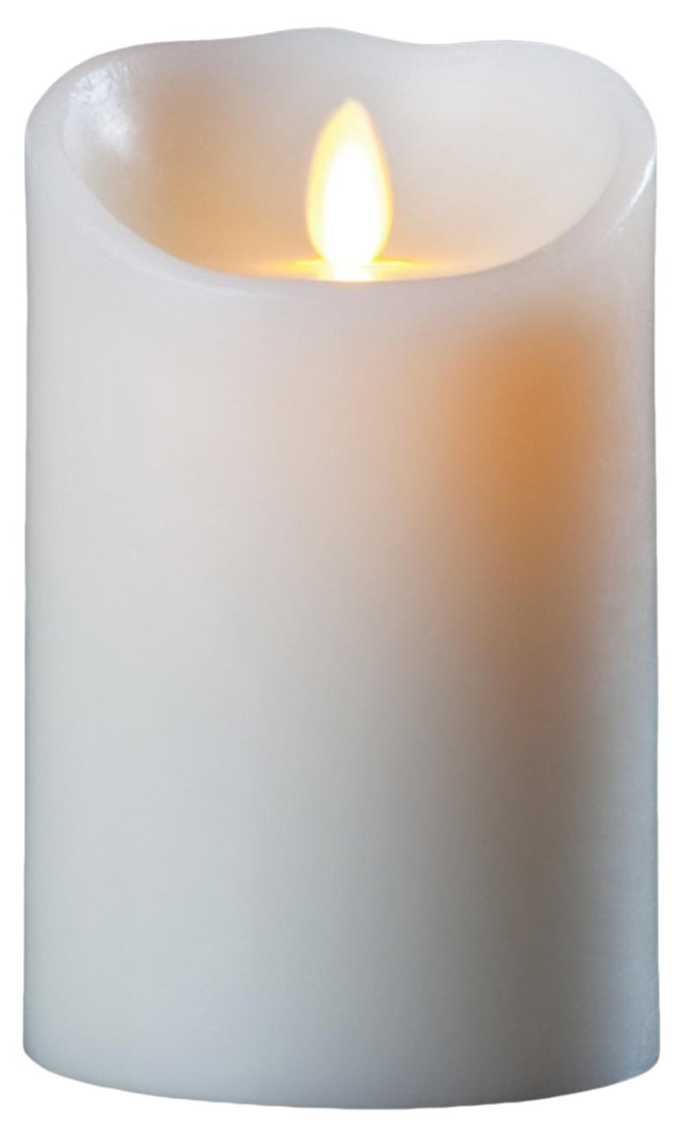 Luminara Flameless Candle: Vanilla Scented Moving Flame Candle with Timer (5'' Ivory)