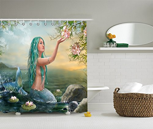 Beautiful Pink Lilies (Mermaid in the Sunset with Green Hair & Lilies Art Bathroom Decor Collection,Polyester Fabric Shower Curtain Set with Hooks)