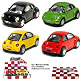 "Box of 12 Cars: 2½"" Die-cast VW New Beetle 1/64 Scale, Pull Back Action."