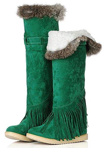 Nappe Calde Nappe Con Frange In Pelliccia Sintetica Verde Foderato In Pelliccia Di Lana Invernale