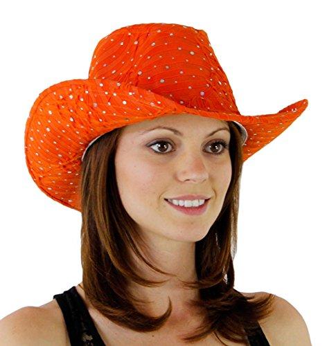 (Glitter Sequin Trim Cowboy Hat Orange One)