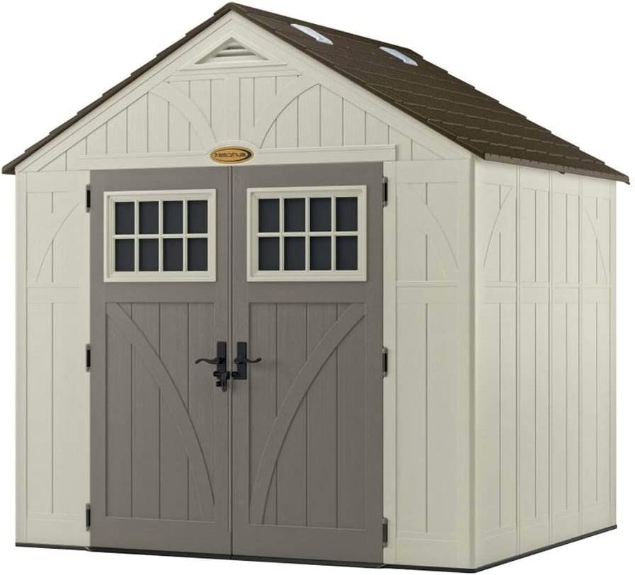 Suncast 8 x 7 Tremont Storage Shed with Windows – Outdoor Storage for Backyard Tools and Accessories – All-Weather Resin Material, Transom Windows and Shingle Style Roof