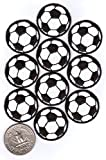 20 Soccer Ball Patches (2 x 10-Packs) Black and White Iron-on Backing Fully Embroidered