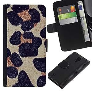 KingStore / Leather Etui en cuir / Samsung Galaxy S4 IV I9500 / Fourrure animale Nature
