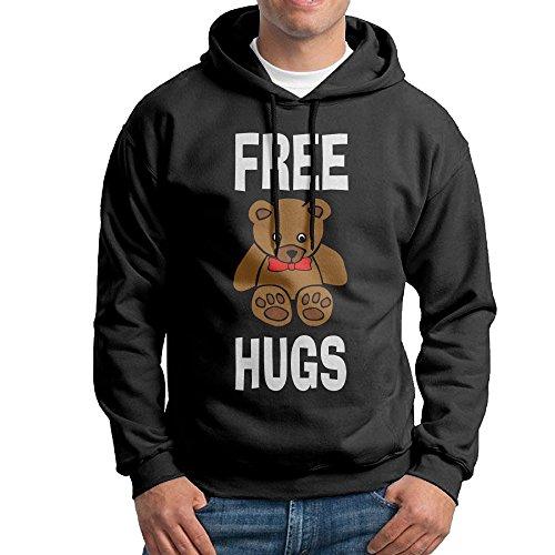 CSECGAR Free Hug Bear Men's Pullover Hoodie Sweatshirts L Black
