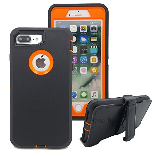 ❥ iPhone 7Plus with Belt Clip & Built-in Screen Protector Cover Harsel Heavy Duty Defender Shockproof Military Hybrid Rubber Outdoor Sport Tough Armor Case for iPhone 7Plus (Black Orange) orange iphone 7 plus case 2