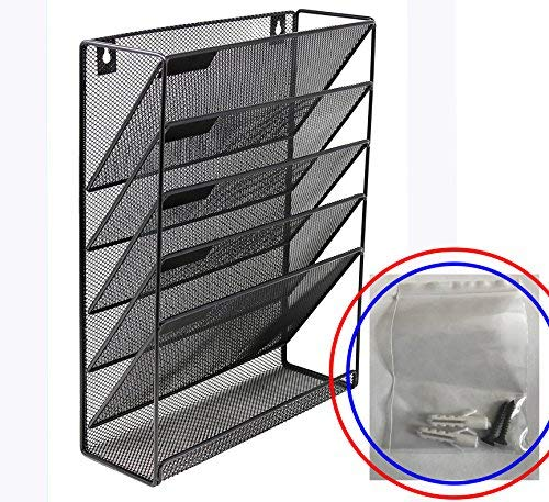 Organizador de archivos de pared de malla de metal, incluye tornillos y soportes, 5 bolsillos, revistero y clasificador de...