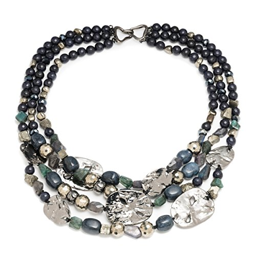 Alexis Bittar Multi Strand Medallion Rocky Metal Station Necklace with Swarovski Crystal Accent