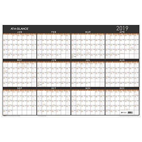 Erasable Planner (at-A-Glance Wall Calendar, January 2019 - December 2019, 24